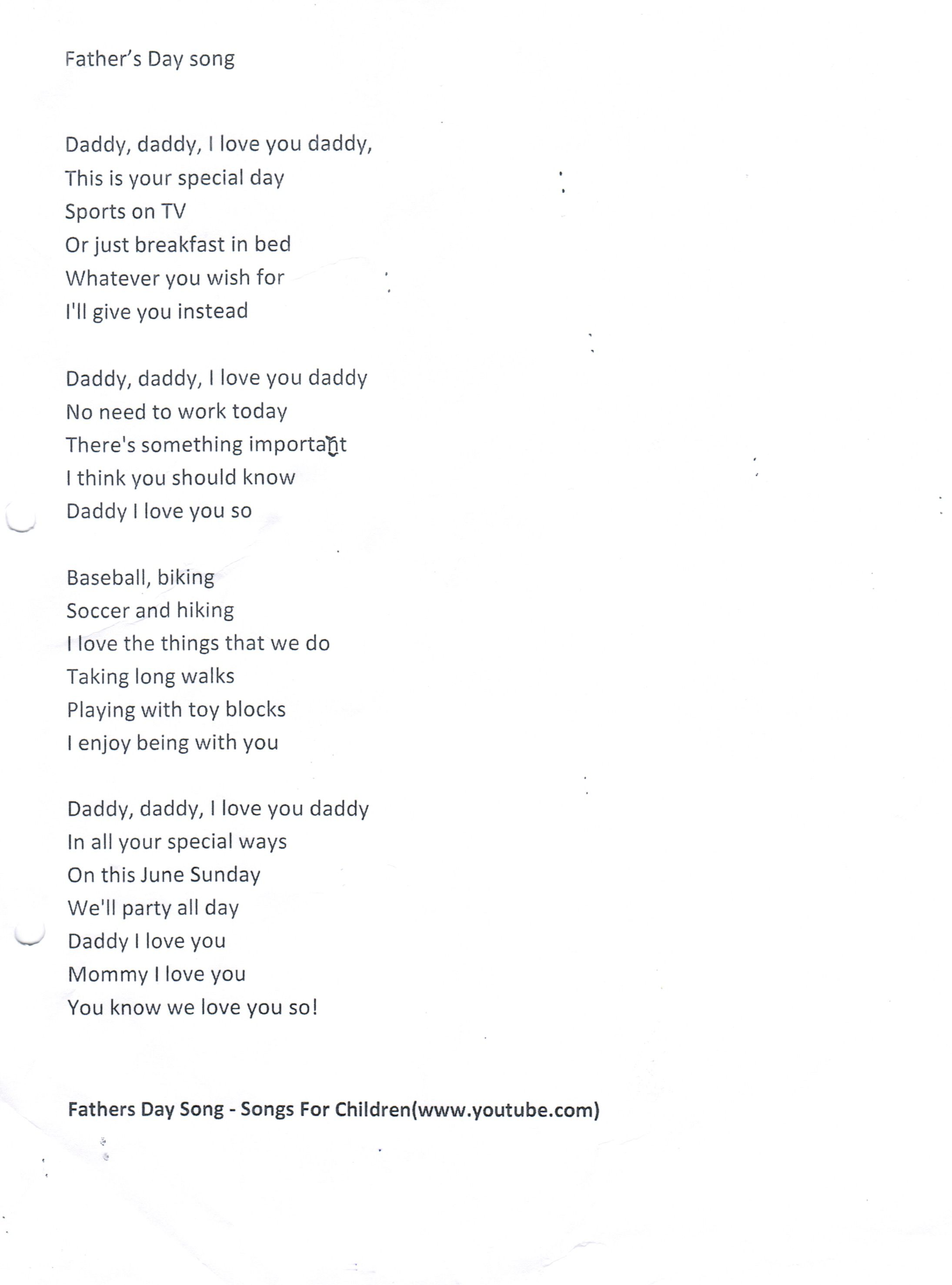 Father's Day Song | Song Lyrics | Fathers day songs, Father