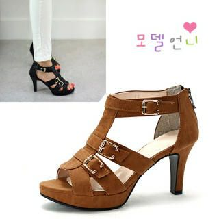 Buckled-Strap Ankle-Strap Sandals