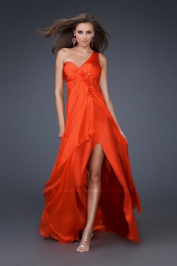 Vestido corto de fiesta naranja