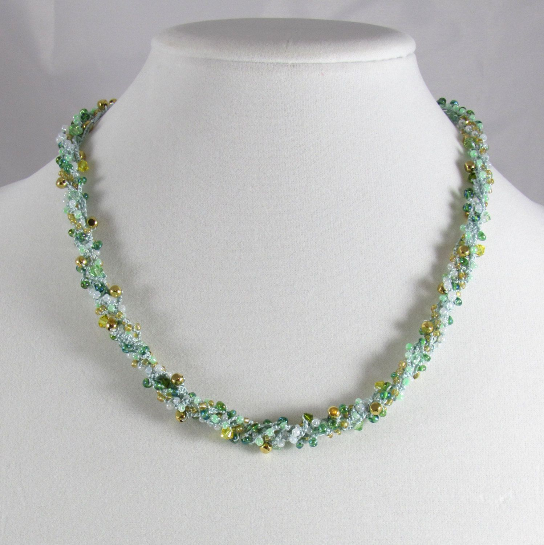 Crochet Silk Necklace Aqua Blue Convertible Bracelet by TangibleImaginings on Etsy