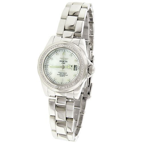 Invicta White Mother of Pearl Dial Lady Diamond Diver Watch