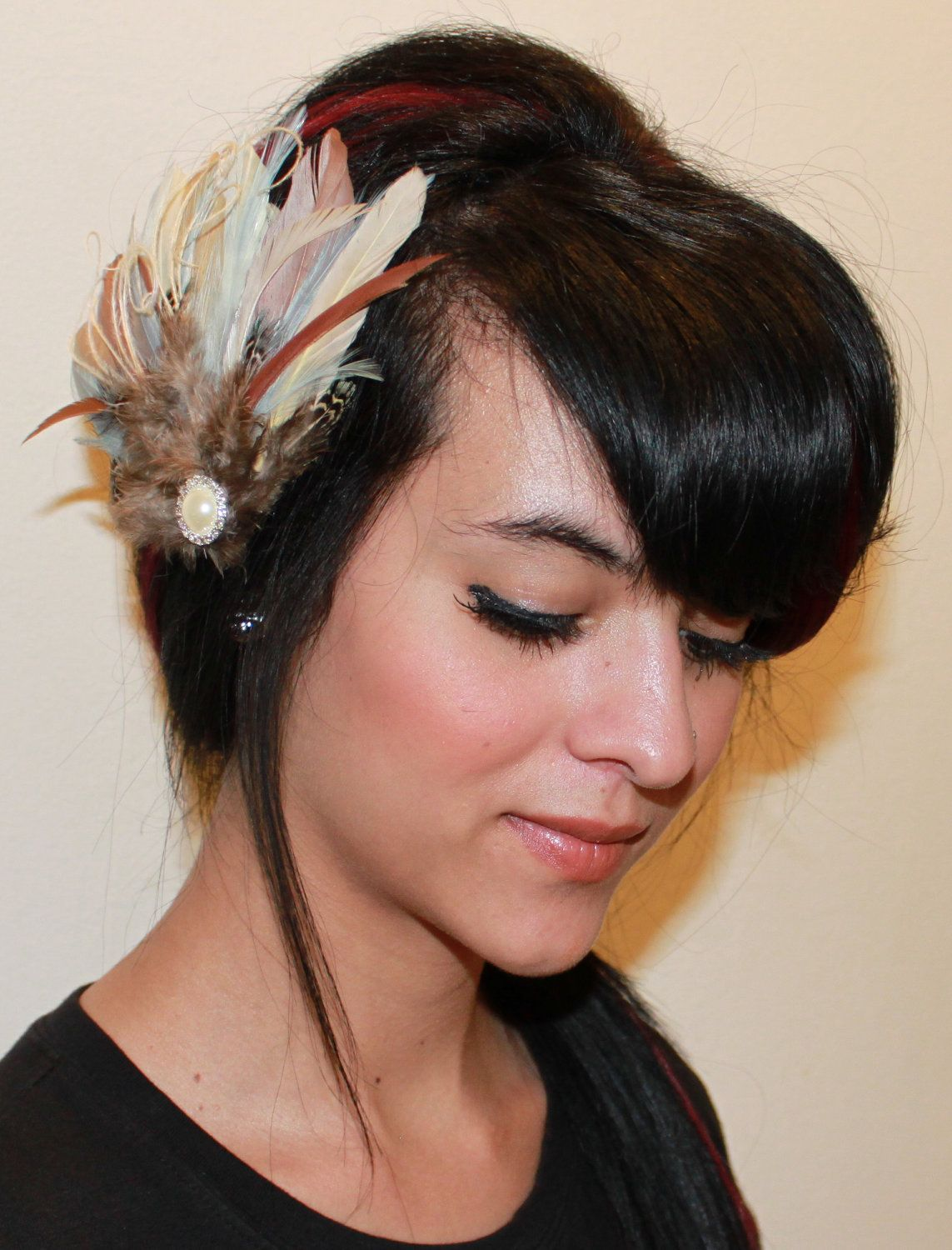 Light Brown, Sand, Khaki and Beige Goose Feather with Light Blue Accents Boutique Bridal Hair Clip Fascinator Photp Prop. $29.99, via Etsy.