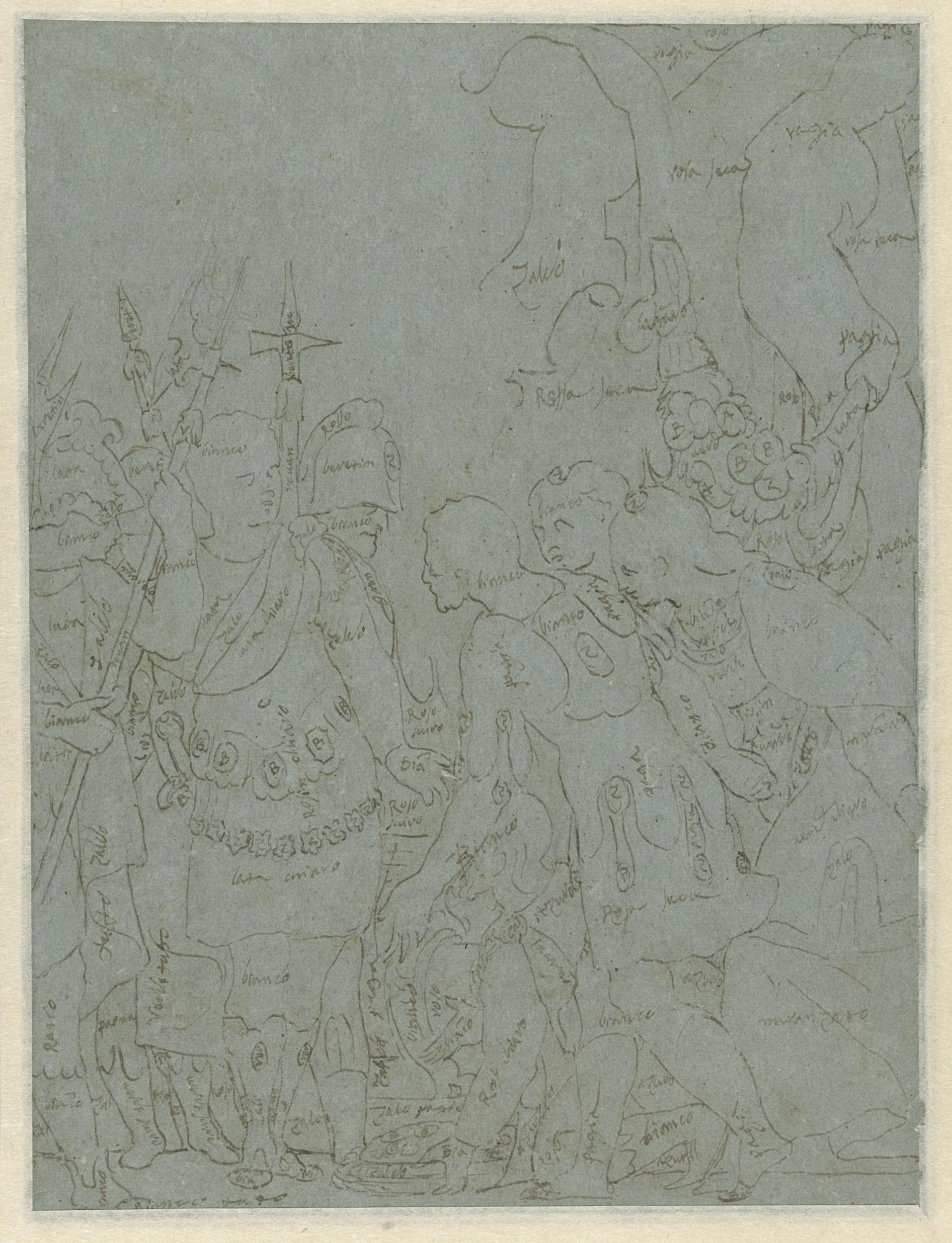 Benedetto Caliari | Contouren van De grootmoedigheid van Scipio, Benedetto Caliari, 1550 - 1598 |