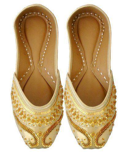 Gold Sequin Bridal Flats Wedding Shoes Indian Designer Punjabi Jutti