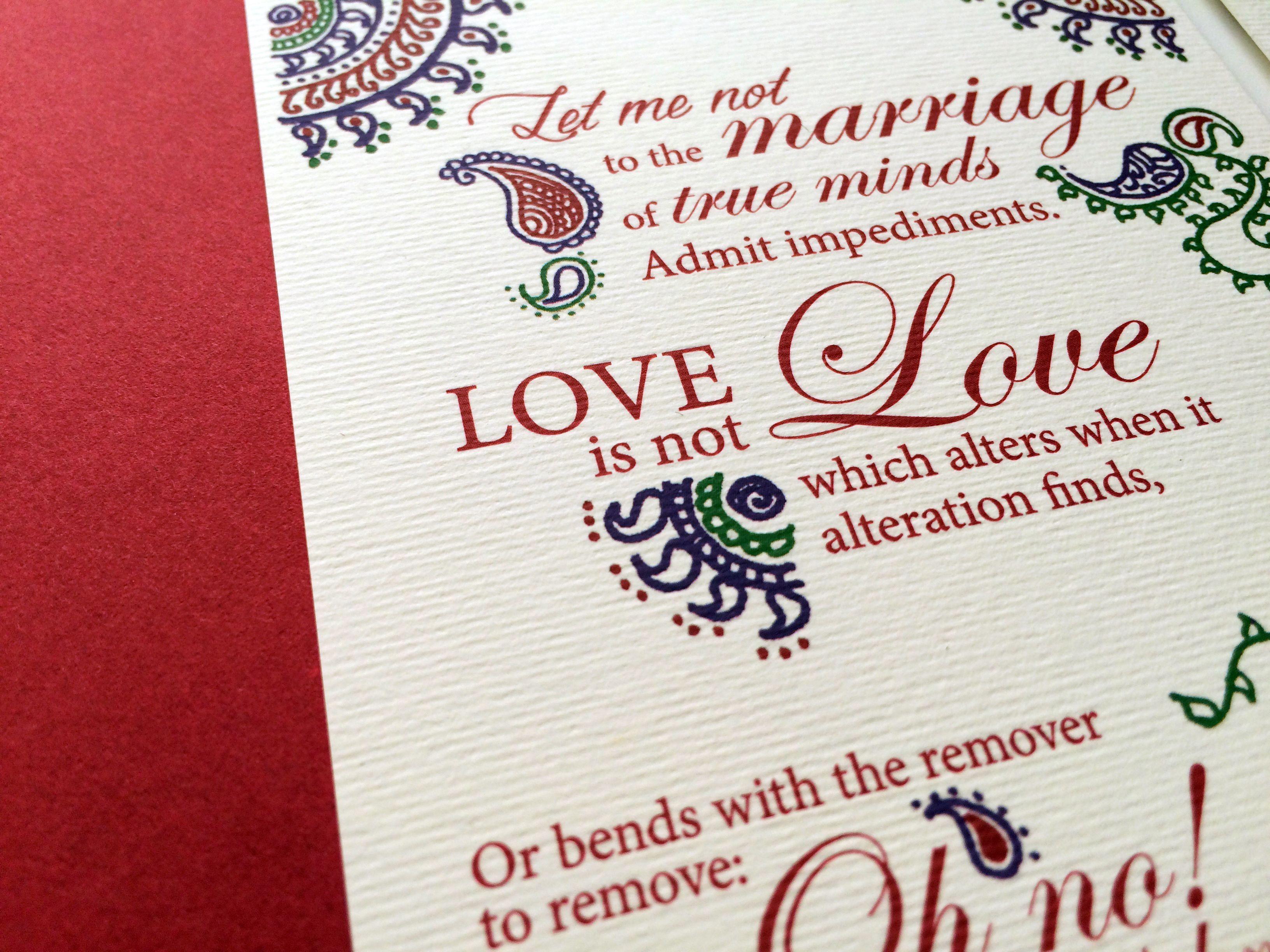 Shakespeare Sonnet Engagement, Sagai, Hindu Wedding Invitation. Designed  With Hand Drawn Patterns.