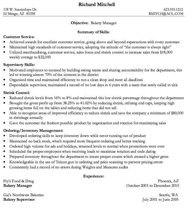 Bakery Manager Resume Resume Sample