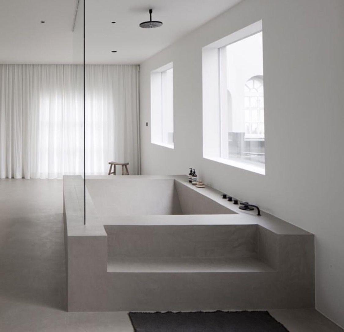 Giant Stone Concrete Bathtub Bathroom Minimalist Bathroom Design