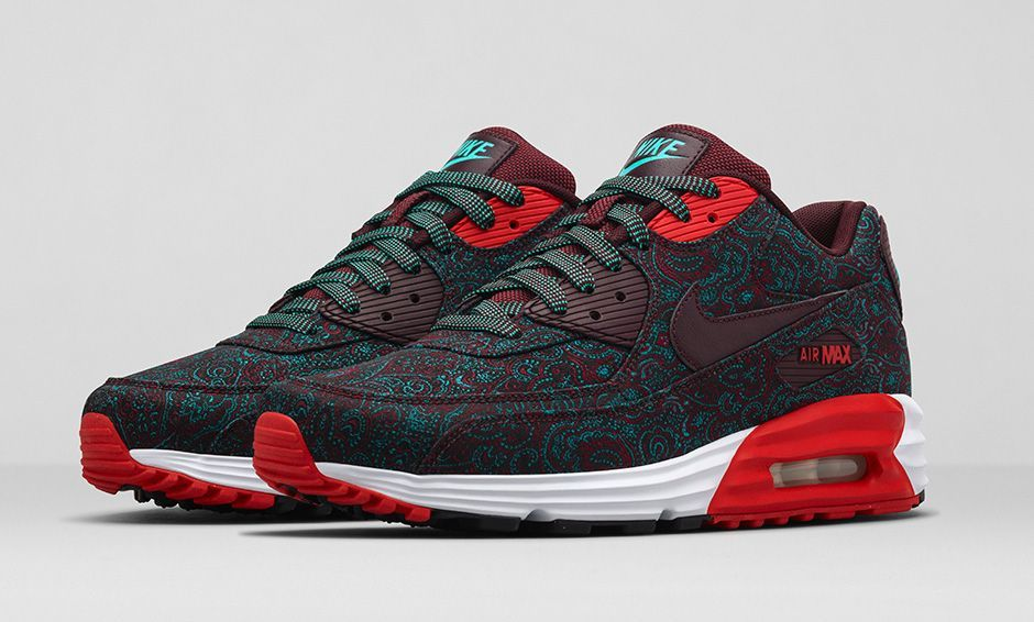 nike air max 90 black/silver/red tie