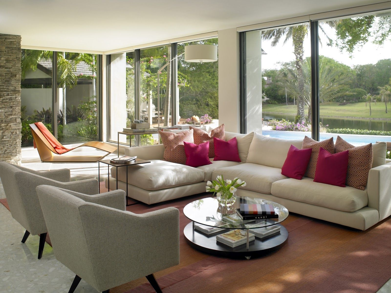 Gorgeous Sunroom Living Room Makeover Sectional Sofas Pink