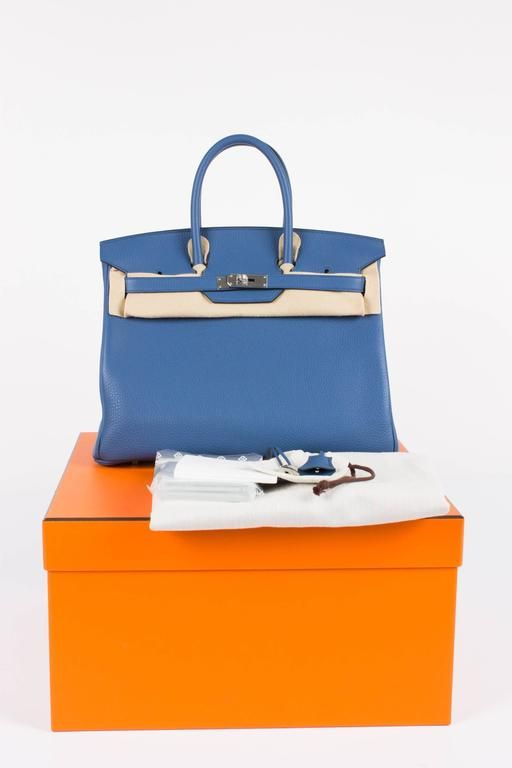 48871c74f77 30cm Blue Agate Clemence Leather Hermes Birkin from 2016. Sensibly priced  at 7