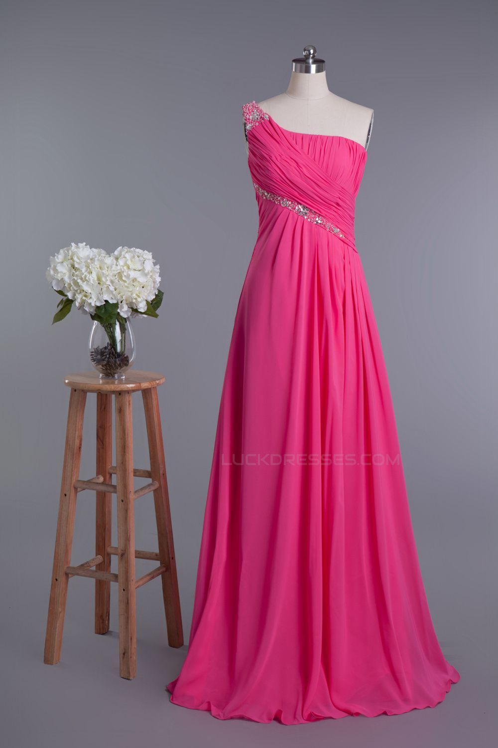 Aline oneshoulder beaded long chiffon prom evening formal dresses