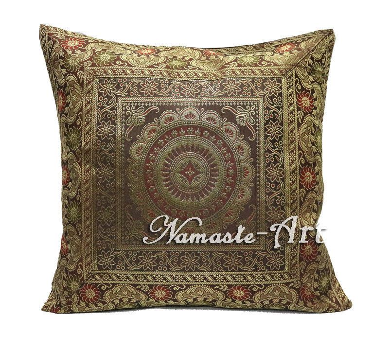 40'' Indian Silk Cushion Cover Brocade Decorative Art Ethnic Boho Magnificent Indian Silk Decorative Pillows