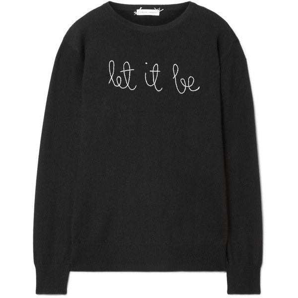 Lingua Franca Let It Be embroidered cashmere sweater ($380) ❤ liked on Polyvore featuring tops, sweaters, shirts, black, embroidered shirts, embroidery top, embroidered top, cashmere top and cashmere sweater