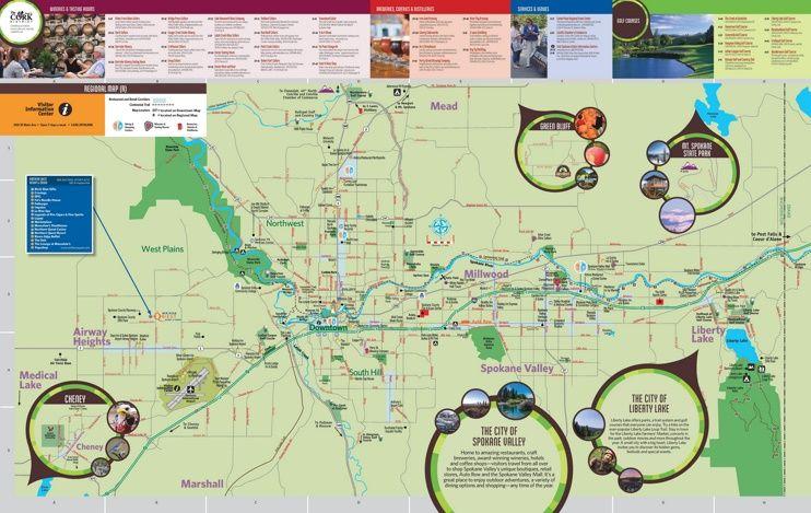 Spokane tourist map Maps Pinterest Tourist map Usa cities and