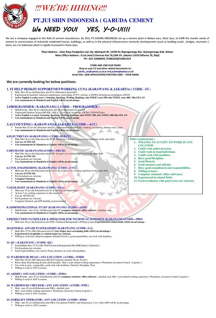 Join 15 Vacancy From Jui Shin Indonesia Garuda Cement For Any