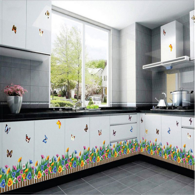 Diy Skirting Floral Fence Flower Butterfly Baseboard Kitchen Living Room Decorative Decor Decal Mura Wall Stickers Room Sticker Decor Removable Window Stickers
