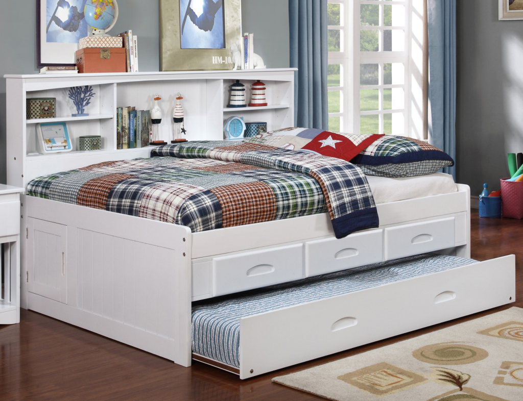 Solid Wood WHITE FULL SIZE Bookcase Daybed With Storage