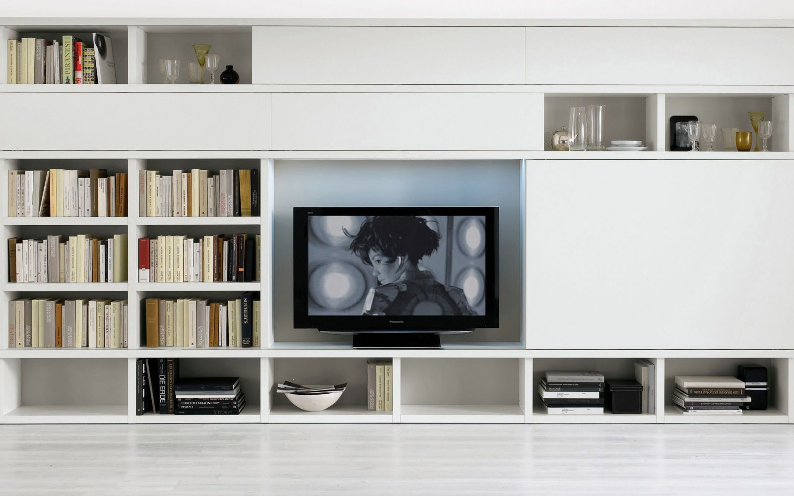 Living Room Storage On White Tv Living Room Wall Storage Living Room Wall Units Living Room Storage Living Room Storage Unit #wall #storage #living #room