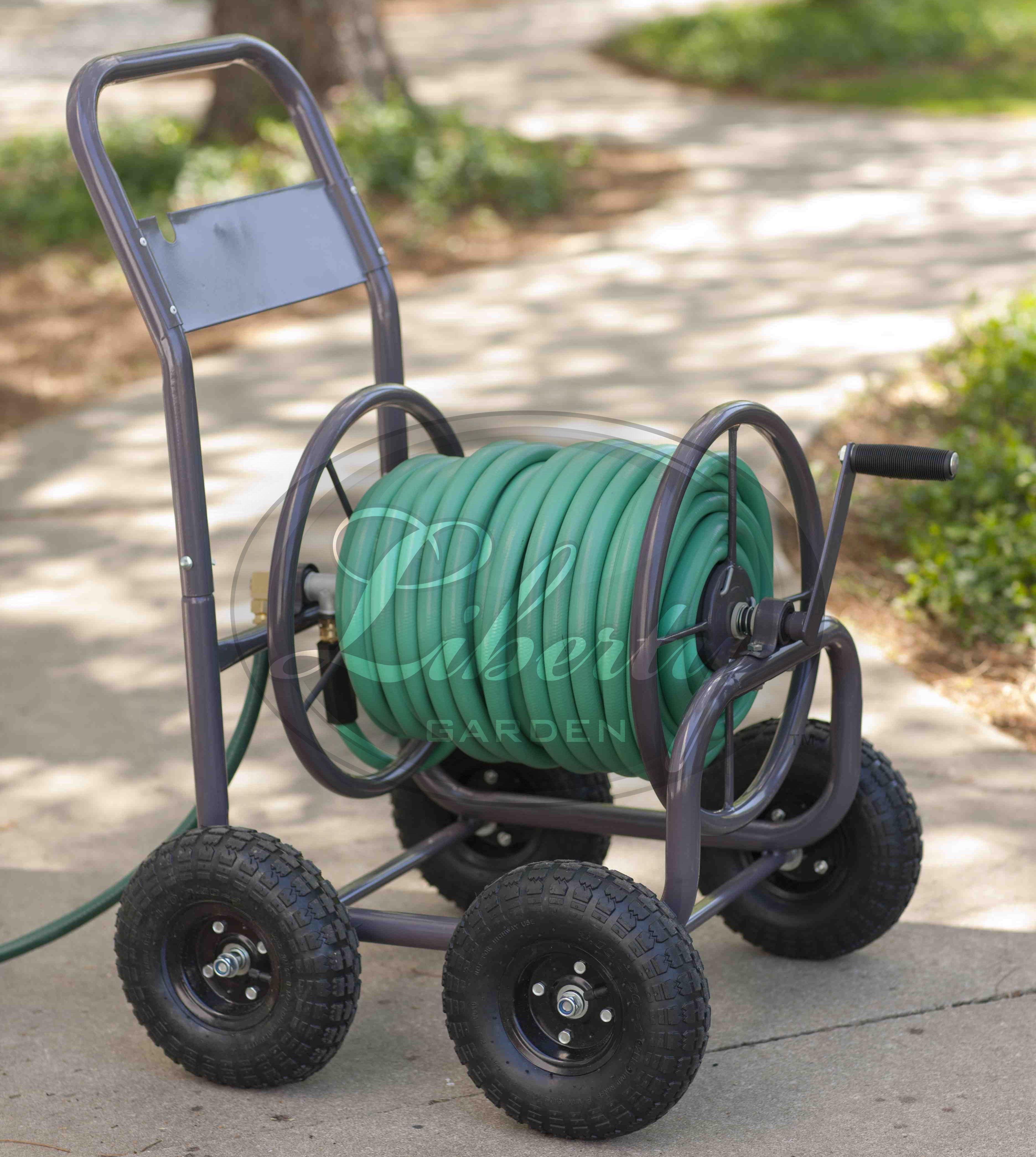 The versatile 871 Four Wheel Hose Cart features a