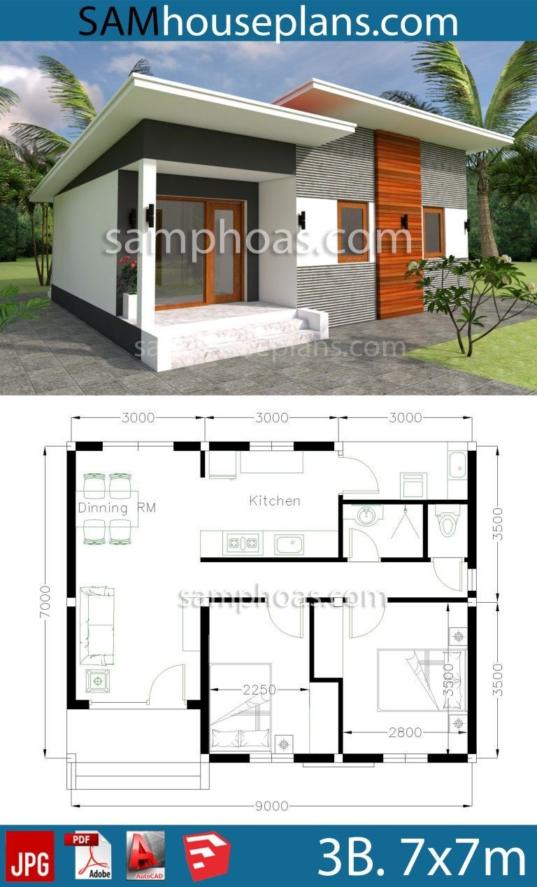 House plans 9x7m with 2 Bedrooms casaspequeñas House