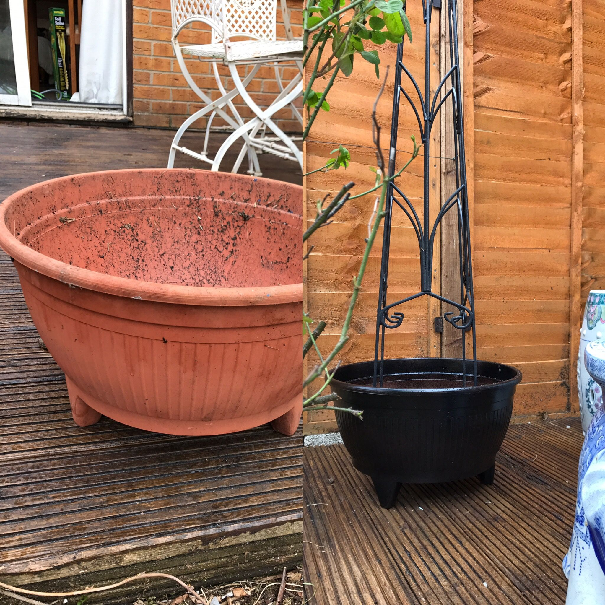 Plastic pot make over with left over Hammerite black spray