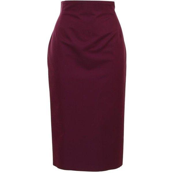 GIAMBATTISTA VALLI Silk wool pencil skirt ($190) ❤ liked on Polyvore