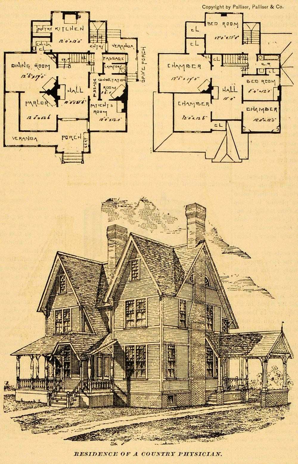 1890 Print Residence Architectural Design Floor Plans Victorian