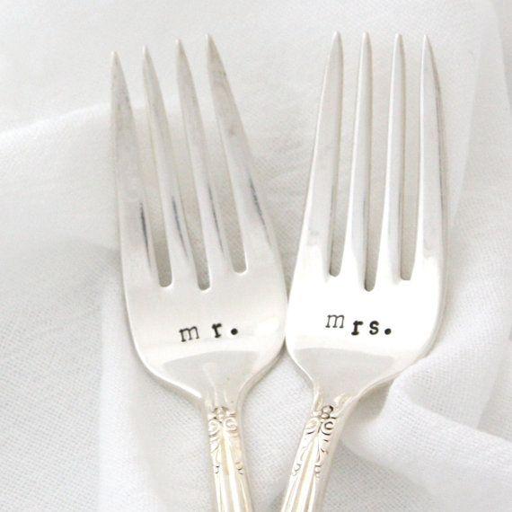 Silverware Wedding Gifts: Wedding Table Setting, Mr & Mrs Forks. Stamped Silverware