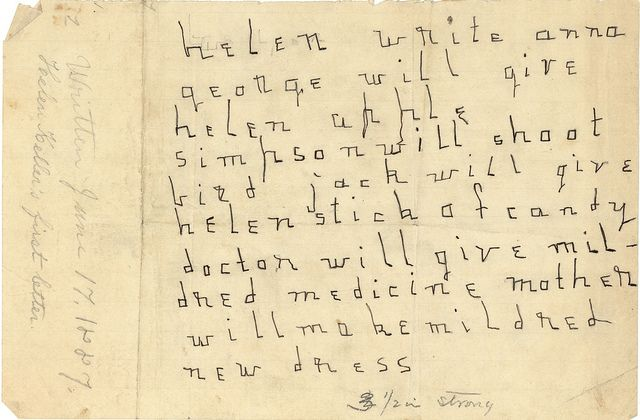 Helen Kellers' First Letter, 1887. Visit the Perkins Archives Flicker page: http://www.flickr.com/photos/perkinsarchive/collections/
