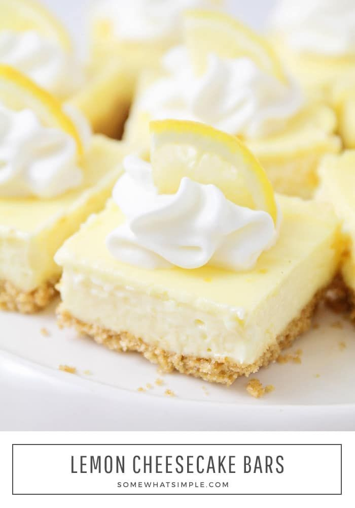Easy Lemon Cheesecake Bars Recipe | from Somewhat Simple