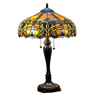 Amora Lighting Tiffany Style 2-light 25-inch Baroque Table Lamp | Overstock.com Shopping - The Best Deals on Tiffany Style Lighting
