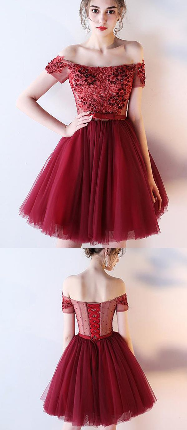 Dark red off the shoulder short prom dress with belt short beading