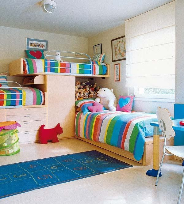 Colorful Bedroom For Three Children Kids Bunk Bed Furniture Set 3 Architecture Design Ideas