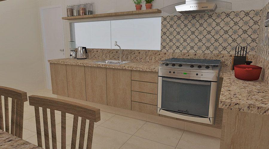 Projeto de uma cozinha desenvolvido pela Márcio Barreto Arquitetura e Design
