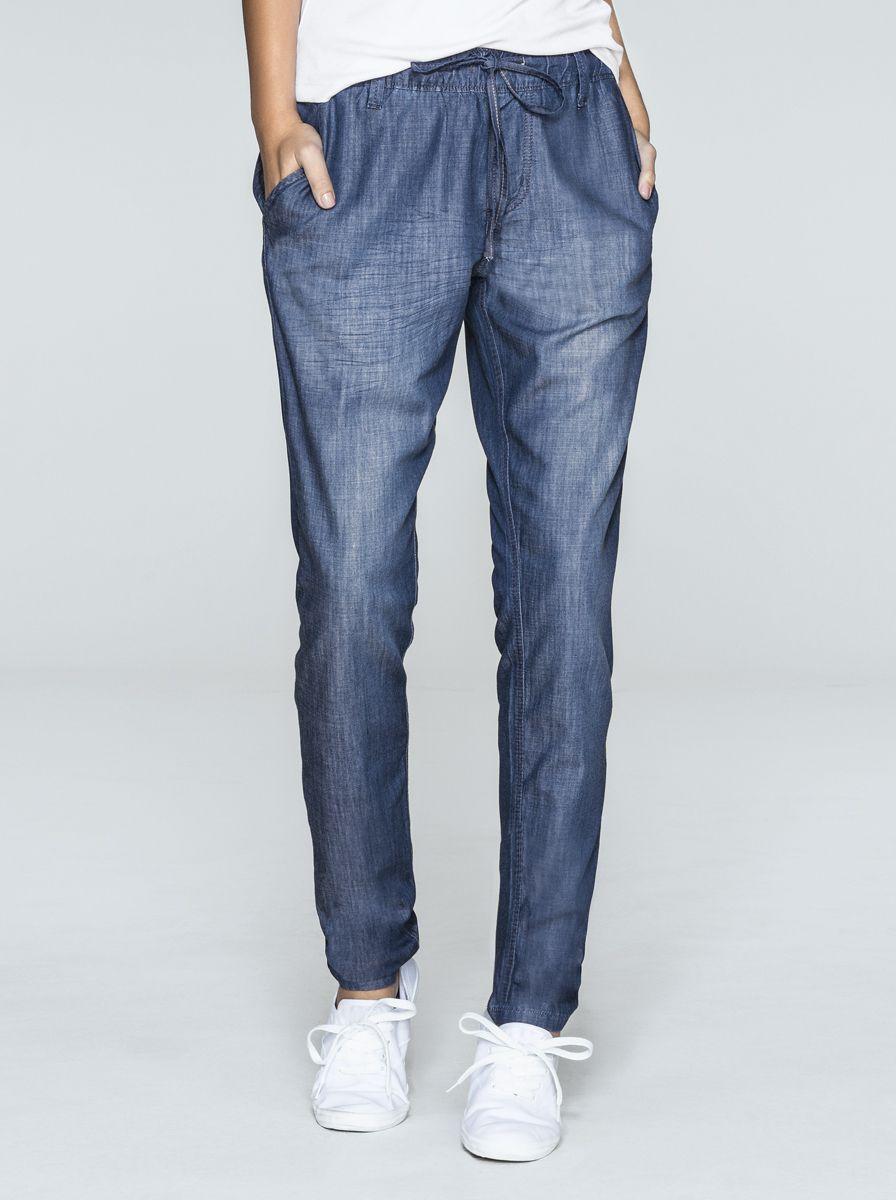 f7b22ae79 Calça Feminina Jogger Em Jeans Com Cós Franzido | Calças | Feminino | Hering