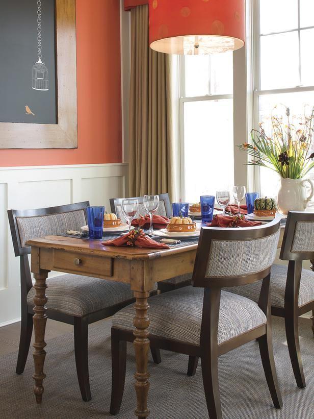 Orange Dining Room Light Fixture - on HGTV-- chalkboard