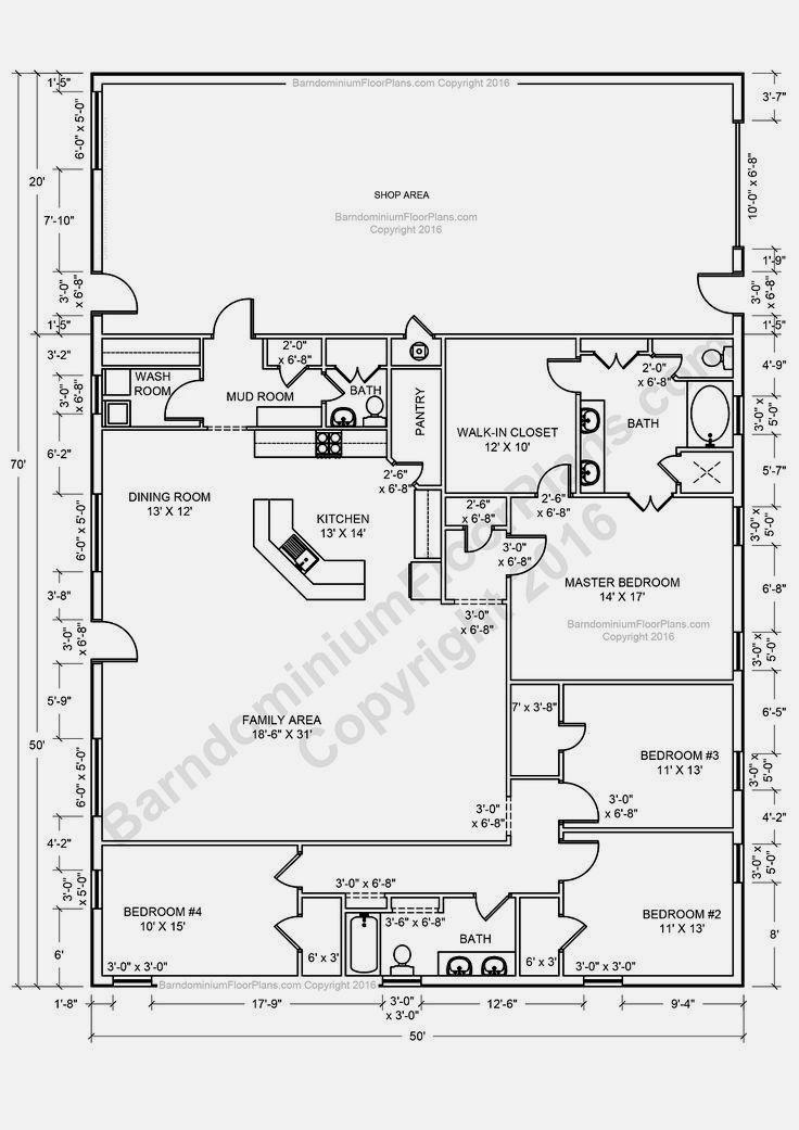 Modern Barndominium Floor Plans 2 Story With Loft 30x40 40x50