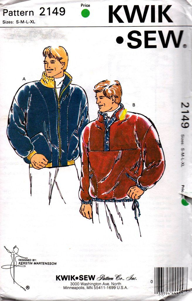 90s Mens Pullover Sweater Pattern Kwik Sew 2149 OOP Sewing Pattern ...