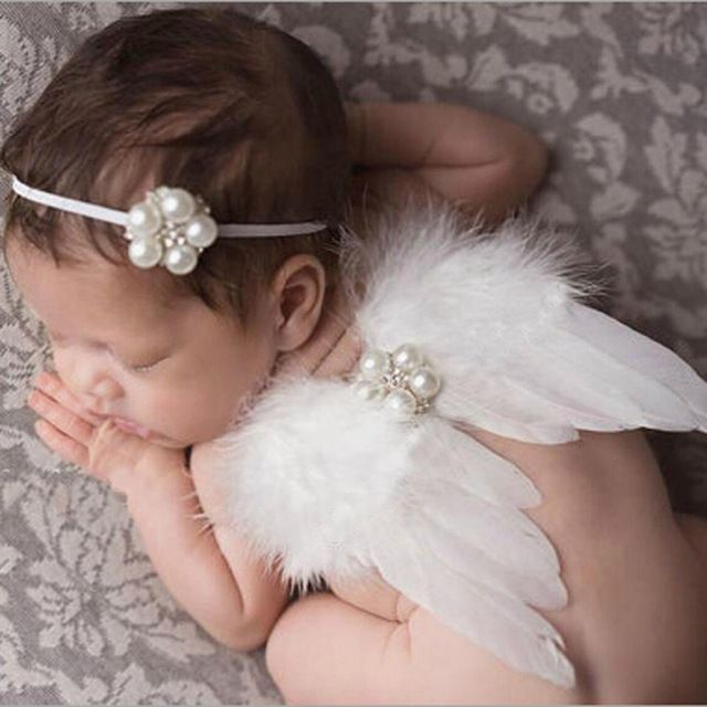 Newborn Baby Girls Boys White Angel Wings Costume Photo Photography Prop Outfit
