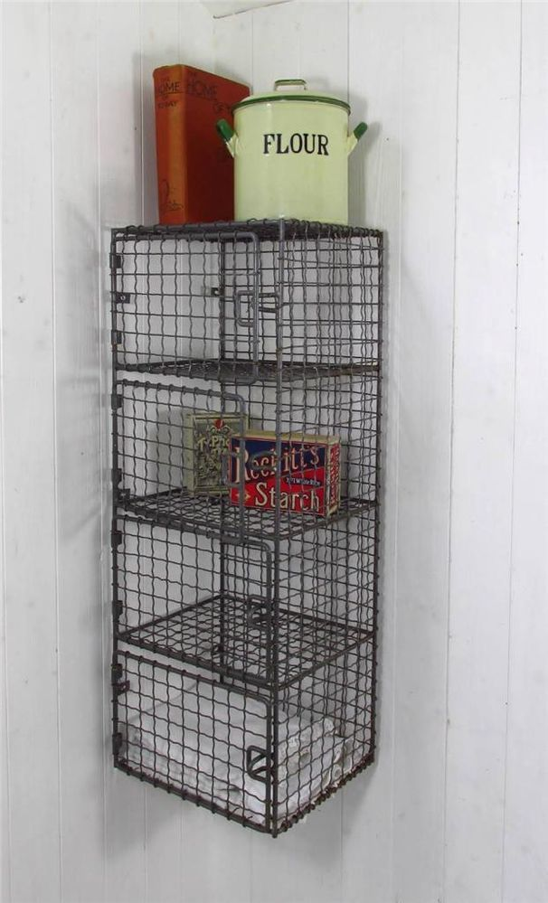 Details About Vintage Industrial Wire Mesh Shelves