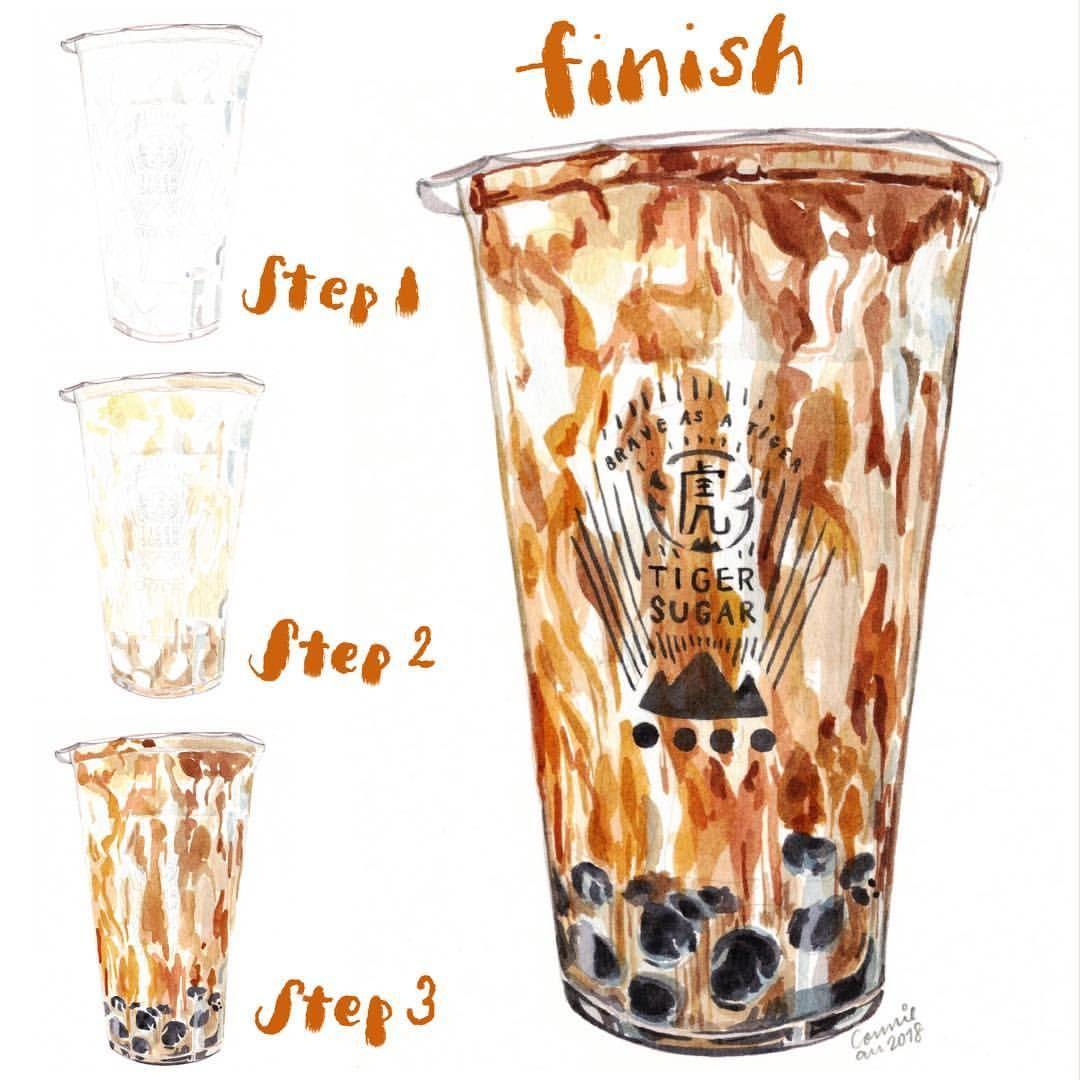 ปักพินโดย Jane Jitt ใน bubble tea ศิลปะเกี่ยวกับอาหาร
