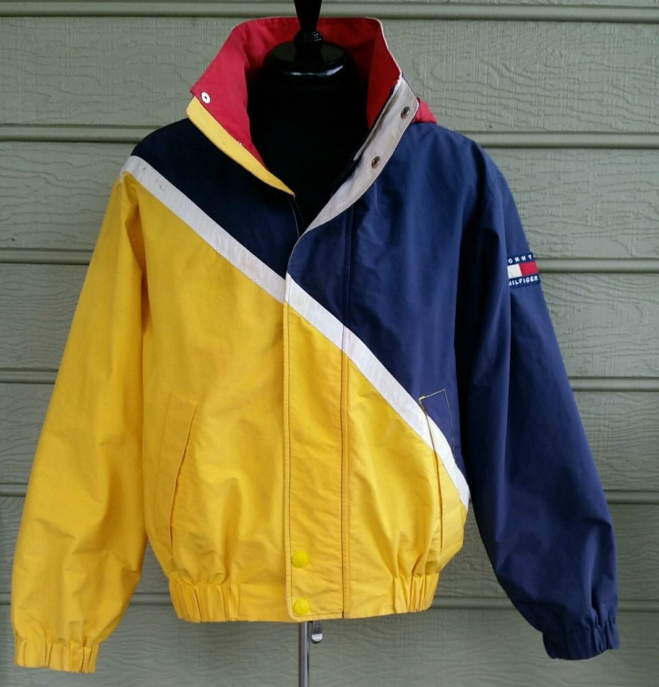 Vintage Tommy Hilfiger Sailing Gear Jacket Coat 90s Colorblock Hooded Sz Medium Fashion Mens Fashion Modern Outfits [ 1000 x 960 Pixel ]