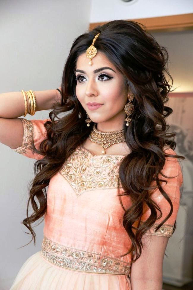 Open Party Hairstyles For Long Hair With Lehenga Pictures Party - Hairstyle for engagement girl