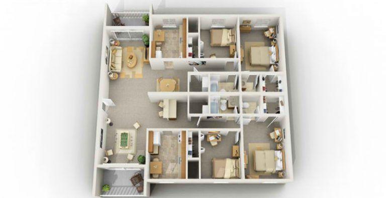 Incredible Design 4 Bedroom Apartments Four Bedrooms Apartment In Blacksburg Va 4 Bedroom Student 4 Bedroom House Plans 5 Bedroom House Plans Floor Plan Design