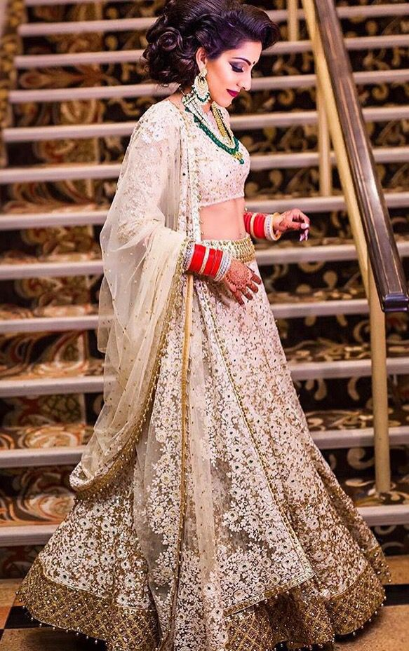 Champagne/Gold Indian wedding reception lehenga