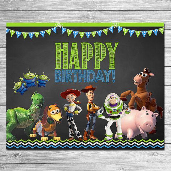 Toy Story Happy Birthday Sign Chalkboard Green Blue Toy Etsy Happy Birthday Signs Toy Story Birthday Party Toy Story Birthday
