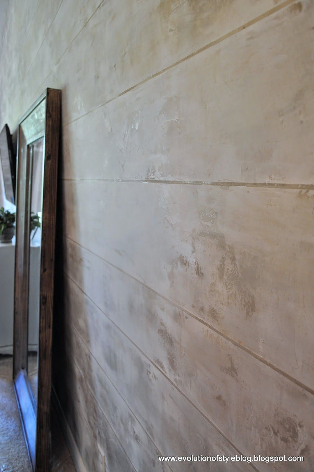 faux wood wall paneling hand painted