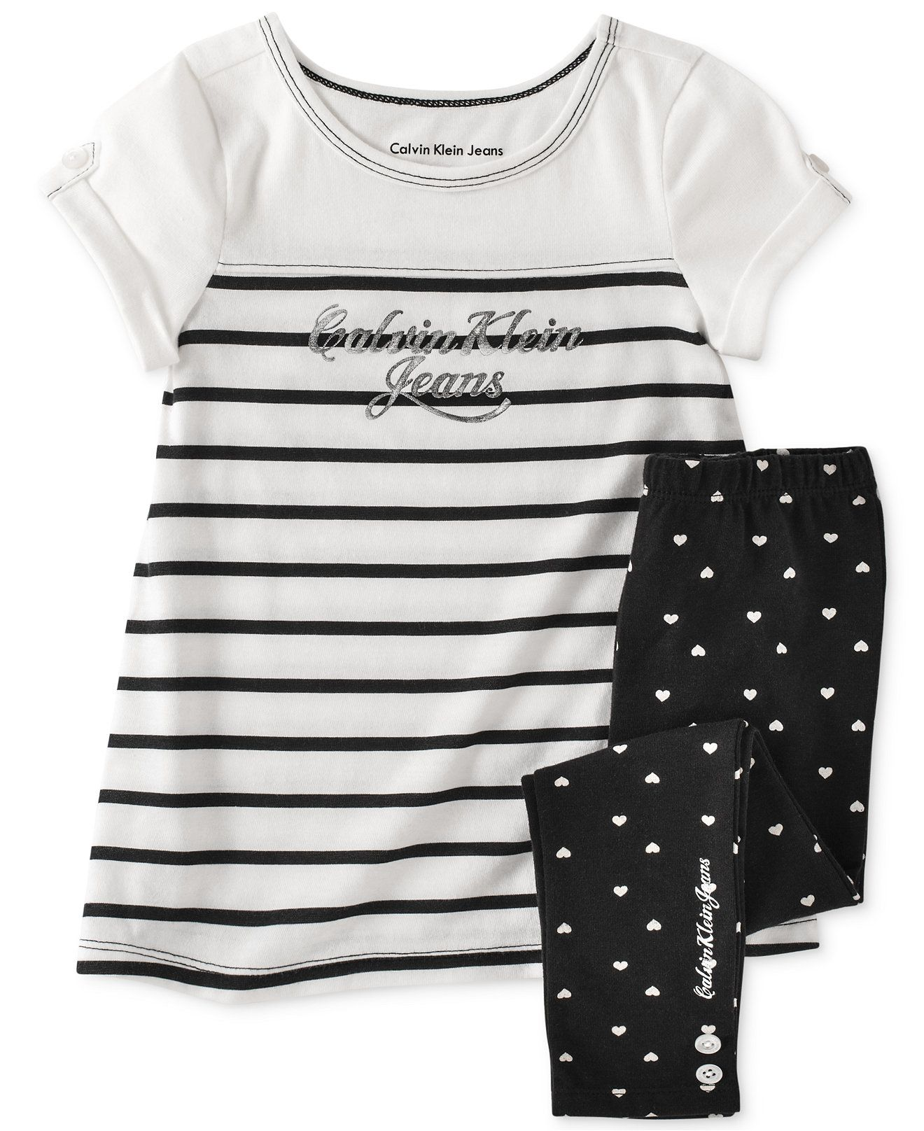 Calvin Klein Little Girls 2 Piece Striped Top & Polka Dot Leggings