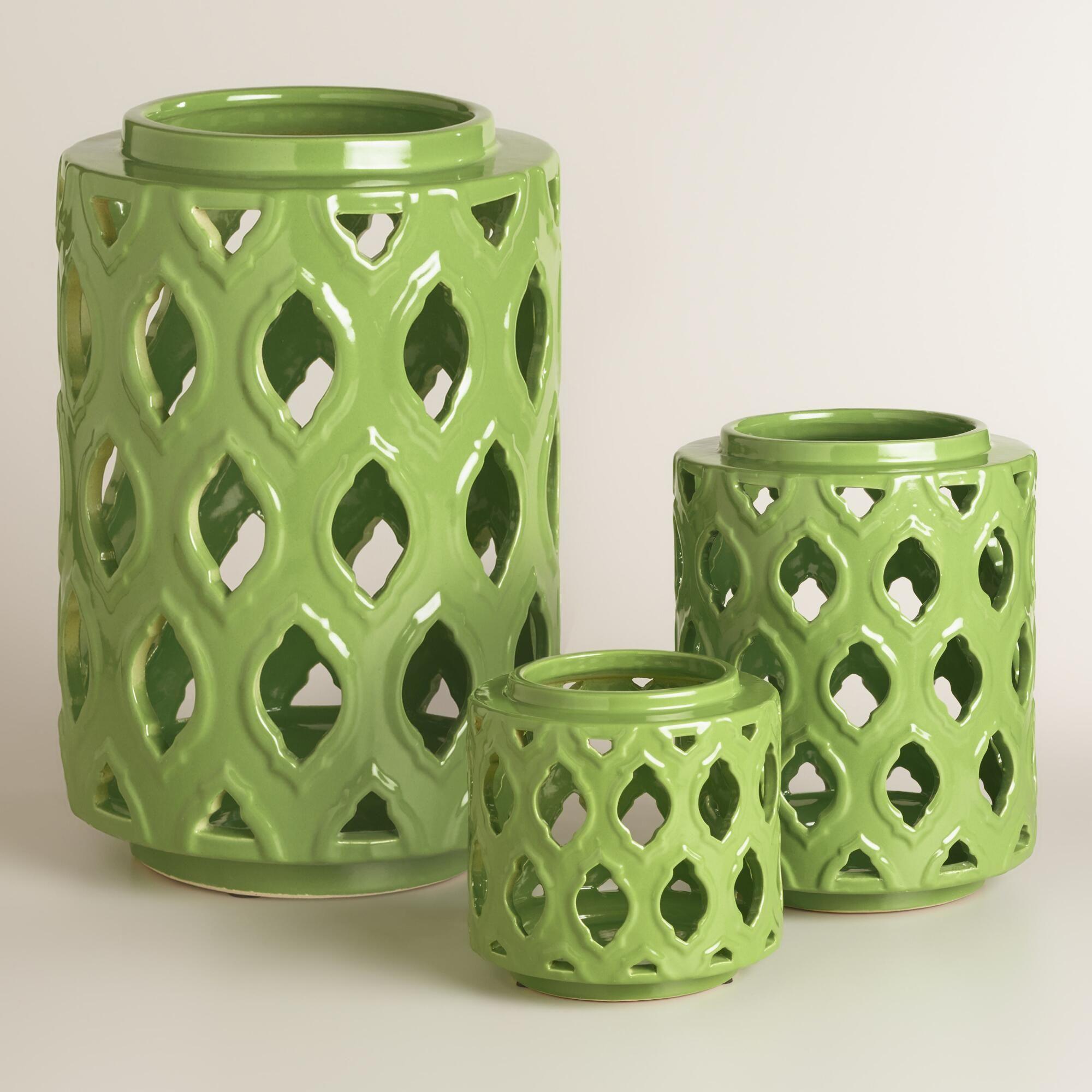 Green Ceramic Cutout Hurricane Candleholder   World Market
