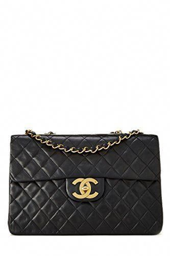 5561ddecbb44 SALE PRICE - $4950 - CHANEL Black Quilted Lambskin Half Flap Maxi (Pre-Owned